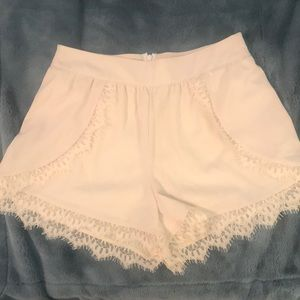 Pants - Lace Dress Shorts in Cream